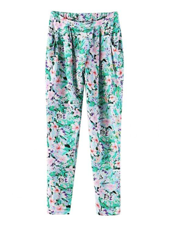 new Floral Print Tie-Up Pants - AS THE PICTURE S