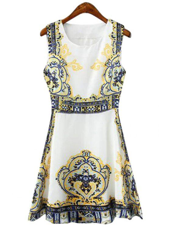 affordable Retro Print A-Line Scoop Neck Sundress - YELLOW S