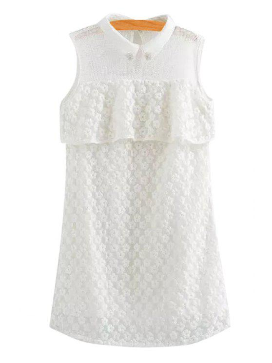 women Turn-Down Collar Floral Embroidery Mesh Dress - WHITE XS