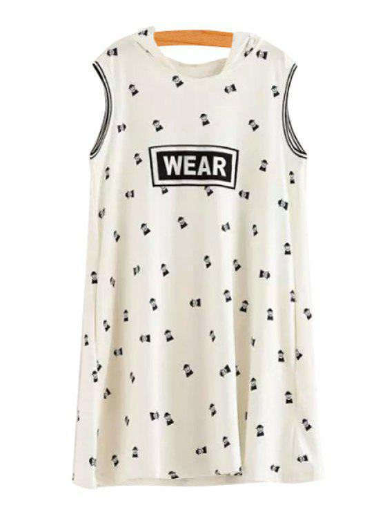 shops Hooded Neck Cartoon Letter Print Dress - WHITE M
