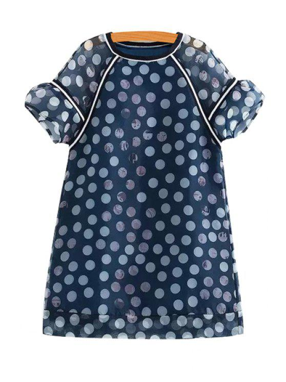 womens White Polka Dot Short Sleeve Dress - BLUE XS