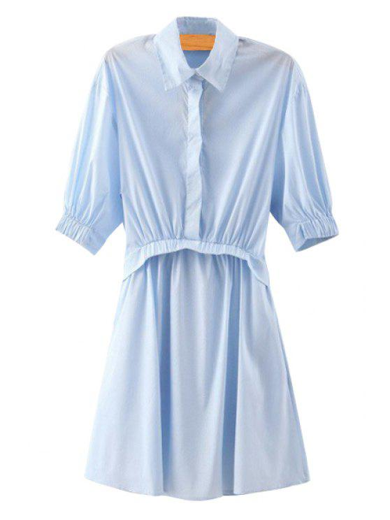 new Blue Stripe Splicing Half Sleeve Shirt Dress - BLUE S