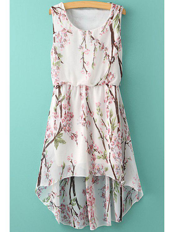 unique Floral High-Low Hem Chiffon Sundress - WHITE ONE SIZE(FIT SIZE XS TO M)