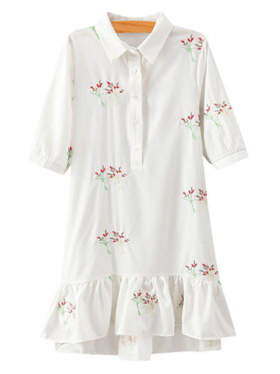 trendy Tiny Floral Embroidery Flounce Half Sleeve Dress - WHITE S