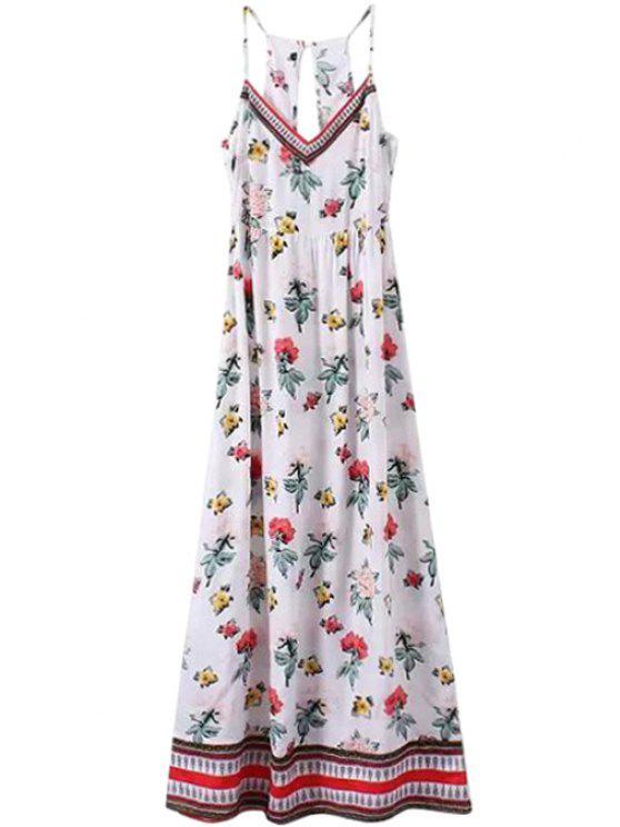 unique Spaghetti Straps Full Floral Maxi Dress - WHITE S