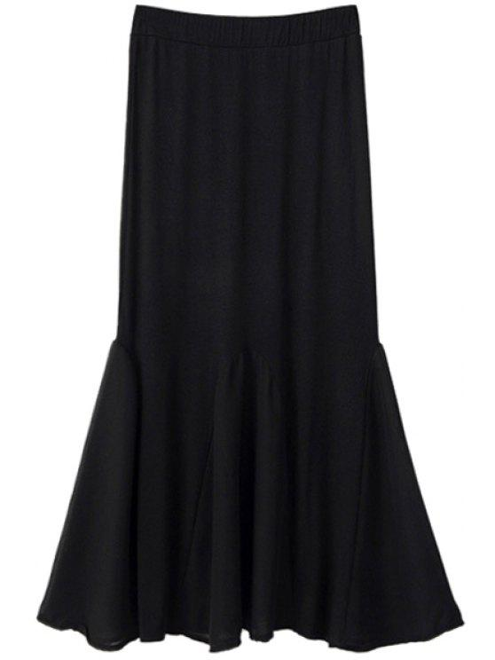 buy Chiffon Spliced Elastic Waist Skirt - BLACK ONE SIZE(FIT SIZE XS TO M)
