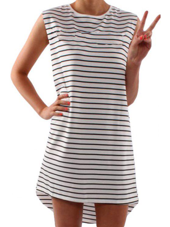 women's Striped White Sleeveless High Low Dress - STRIPE S