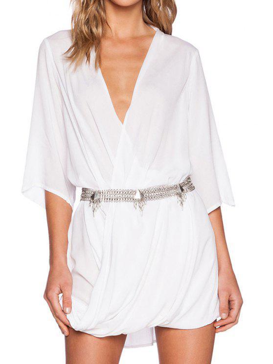 latest White Long Sleeve Deep V Neck Dress - WHITE S