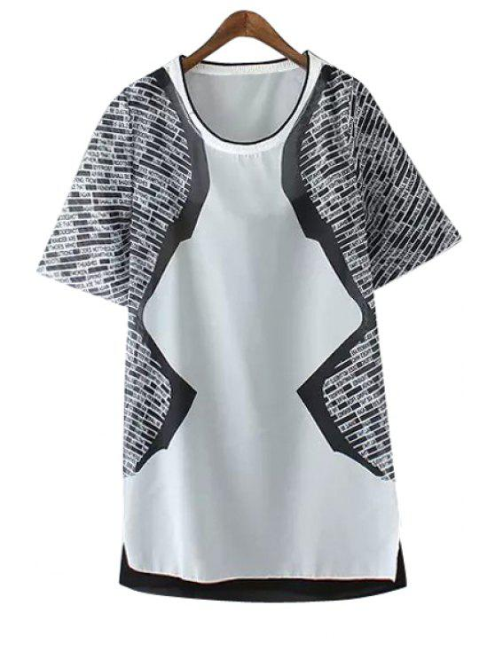 buy Letter Print Color Block Short Sleeve Dress - AS THE PICTURE XS