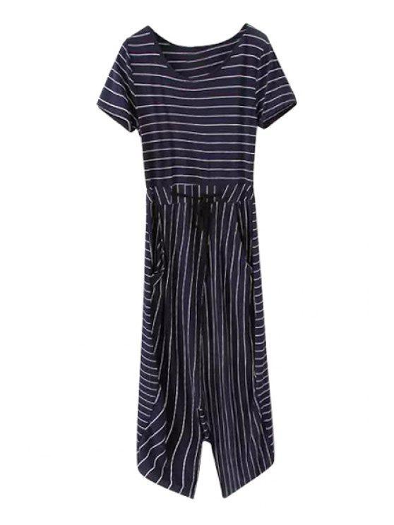 lady Stripe Slit Asymmetrical Short Sleeve Dress - PURPLISH BLUE S