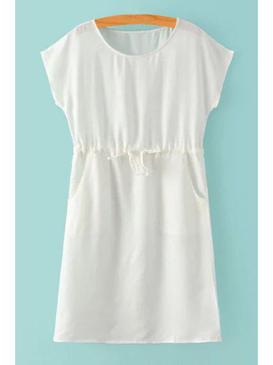 shops Jewel Neck Tie-Up Solid Color Dress - WHITE S