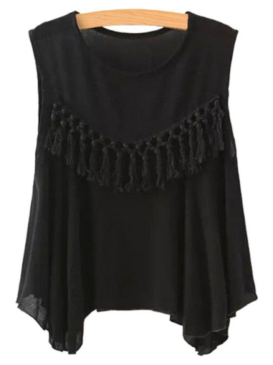 latest Solid Color Tassels Tank Top - BLACK S