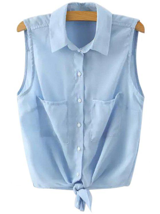sale Solid Color Sleeveless Self-Tie Shirt - BLUE M
