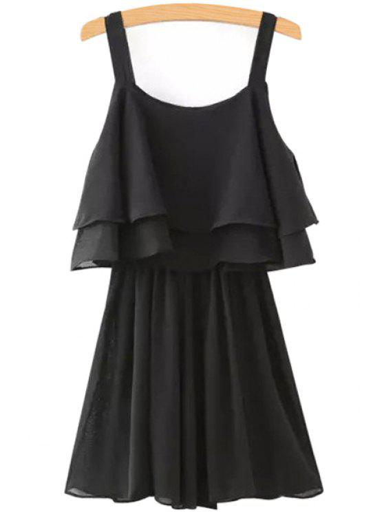 lady Solid Color Layered Chiffon Dress - BLACK S
