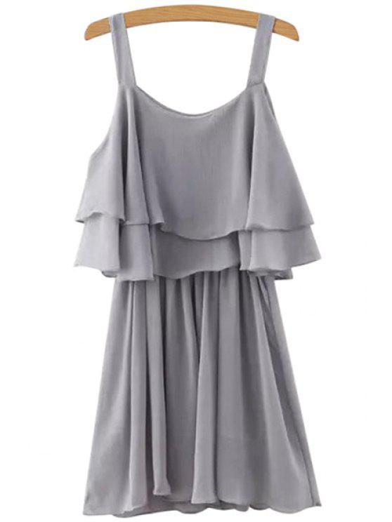 outfits Solid Color Layered Chiffon Dress - GRAY M