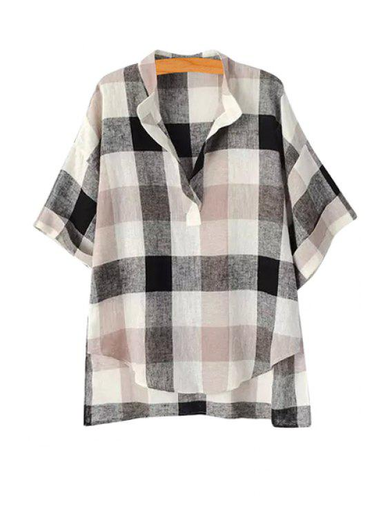 fancy Plaid High Low Short Sleeve Shirt - AS THE PICTURE M