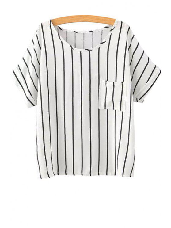 women Stripe Pocket Short Sleeve T-Shirt - STRIPE S