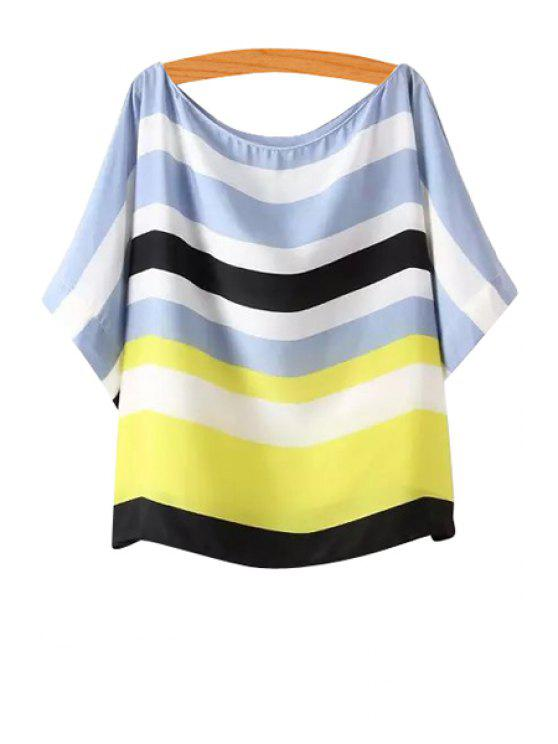 fancy Scoop Neck Color Block Stripe T-Shirt - AS THE PICTURE S