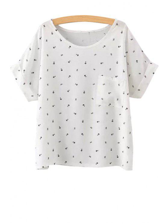ladies Fishbone Print Short Sleeve T-Shirt - WHITE S