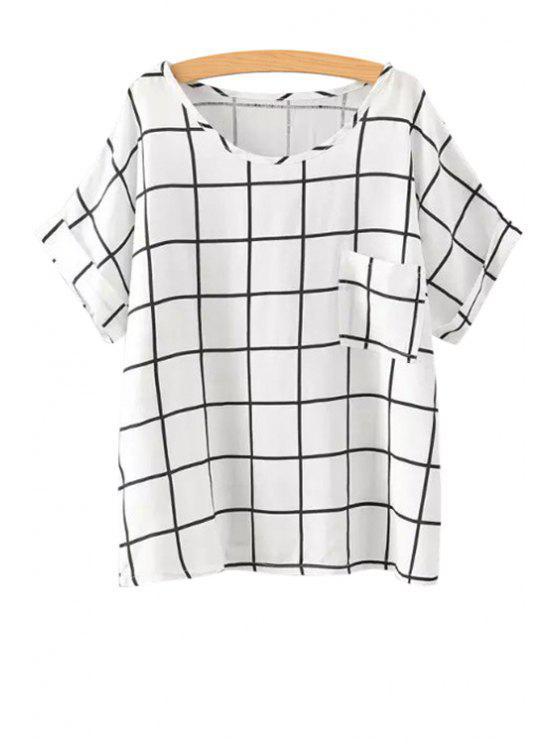 best Checked Print Short Sleeve T-Shirt - BLACK S