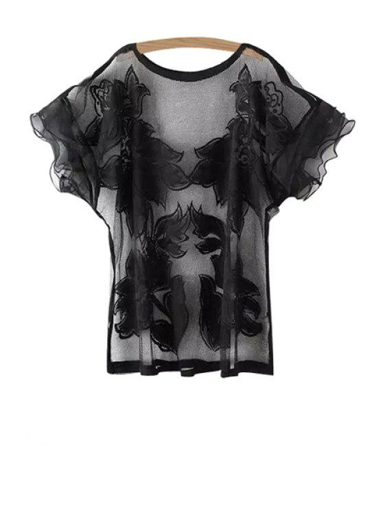 affordable Jewel Neck Floral Pattern Openwork T-Shirt - BLACK ONE SIZE(FIT SIZE XS TO M)
