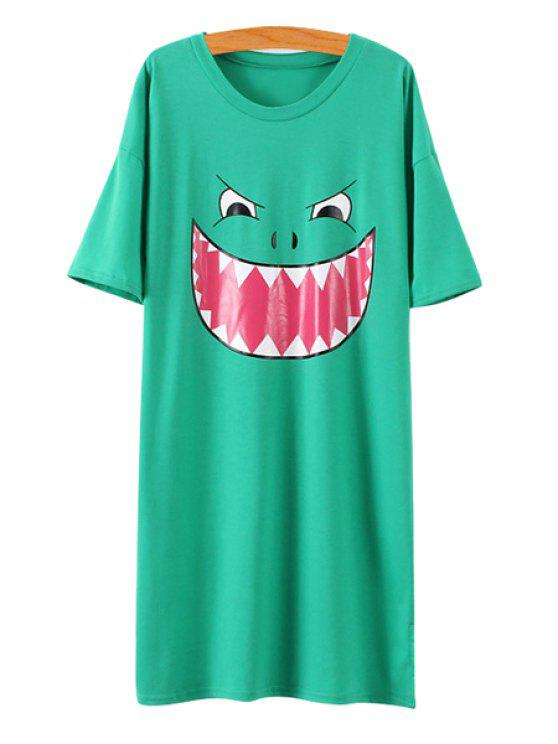 womens Cartoon Monster Print Short Sleeve Dress - GREEN ONE SIZE(FIT SIZE XS TO M)