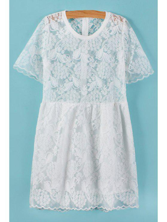 best Leaves Pattern Embroidery Openwork Dress - WHITE ONE SIZE(FIT SIZE XS TO M)