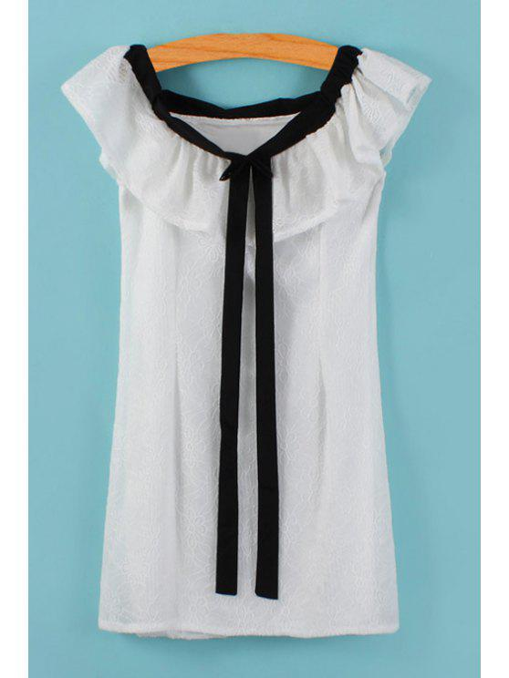 women Black Bowknot Splicing Flounce Short Sleeve Dress - WHITE ONE SIZE(FIT SIZE XS TO M)