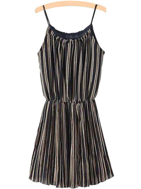 fancy Stripe Chiffon Spaghetti Straps Dress - STRIPE ONE SIZE(FIT SIZE XS TO M)