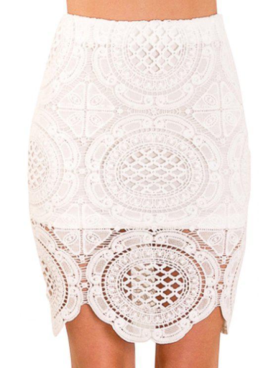 fashion White Crochet Lace Skirt - WHITE S