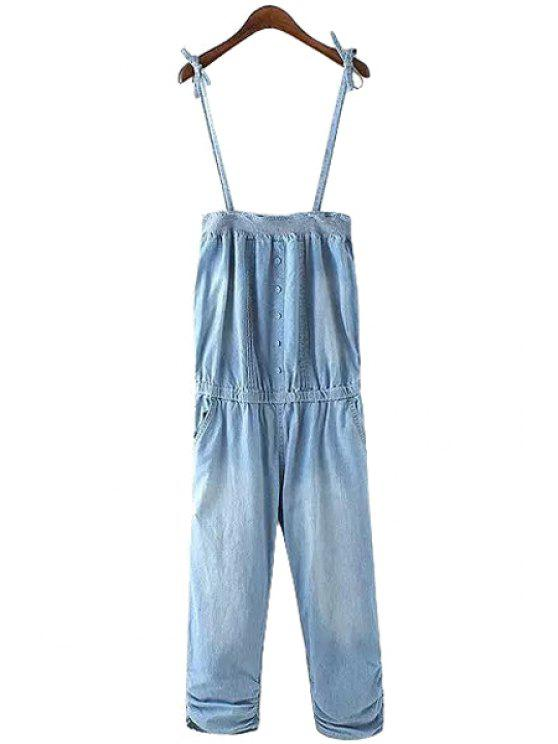 shop Solid Color Denim Spaghetti Straps Overalls - LIGHT BLUE S