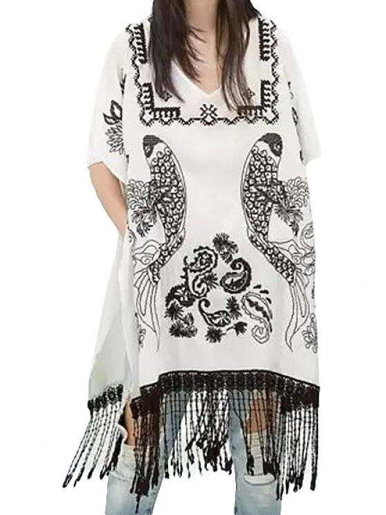affordable Embroidery Tassels V-Neck Dress - WHITE ONE SIZE(FIT SIZE XS TO M)
