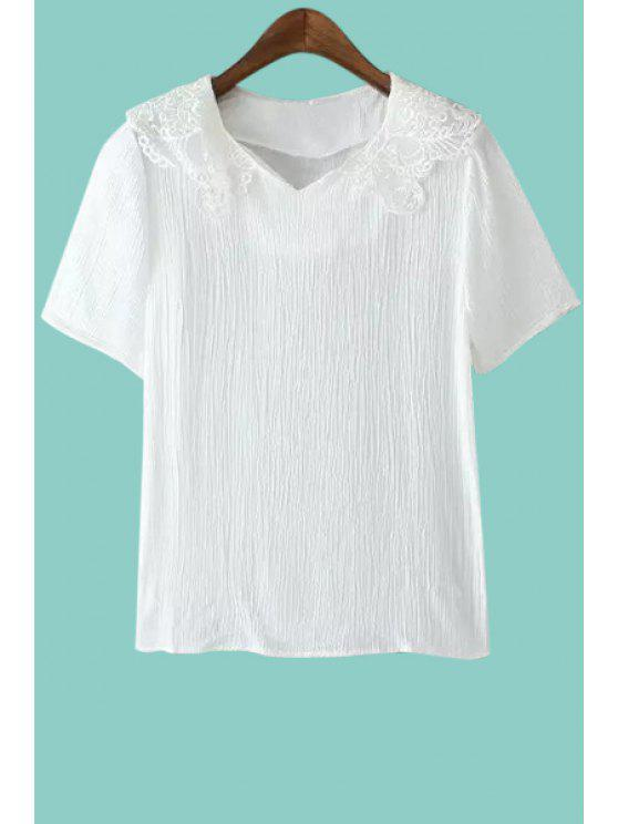 outfit Solid Color Lace Splicing Short Sleeve T-Shirt - WHITE S