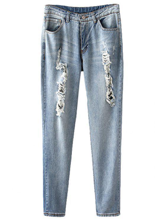 latest Vintage Broken Hole Straight Leg Jeans - LIGHT BLUE S