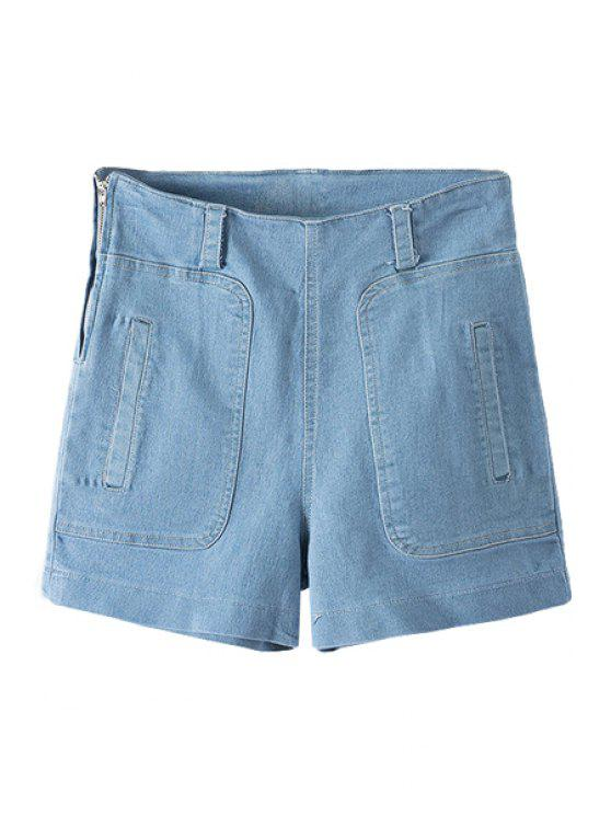 buy High Waisted Solid Color Denim Shorts - LIGHT BLUE S