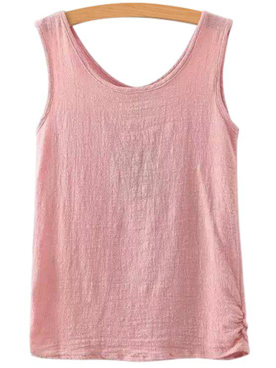fancy Scoop Neck Solid Color Sleeveless Tank Top - PINK ONE SIZE(FIT SIZE XS TO M)