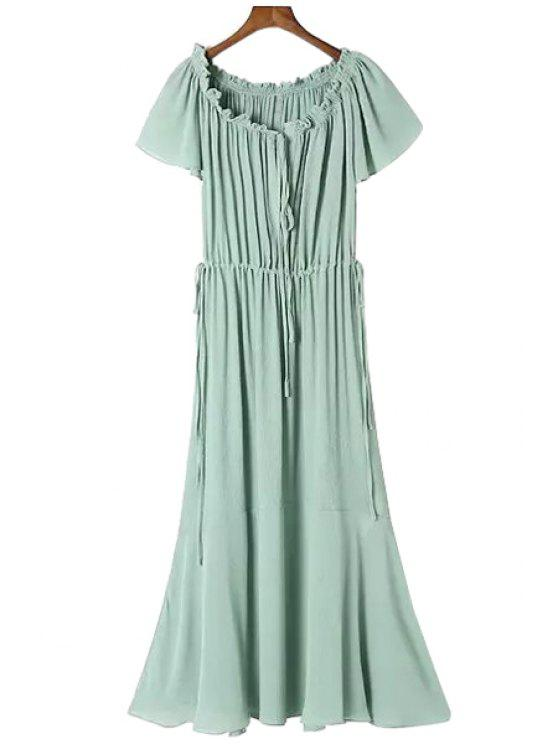 women's Green A-Line Short Sleeve Maxi Dress - GREEN S