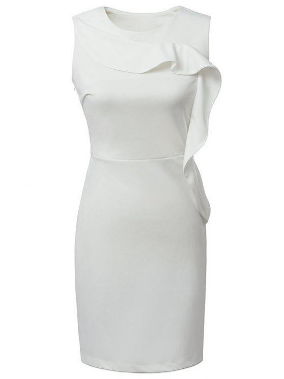 new White Ruffles Sleeveless Dress - WHITE S