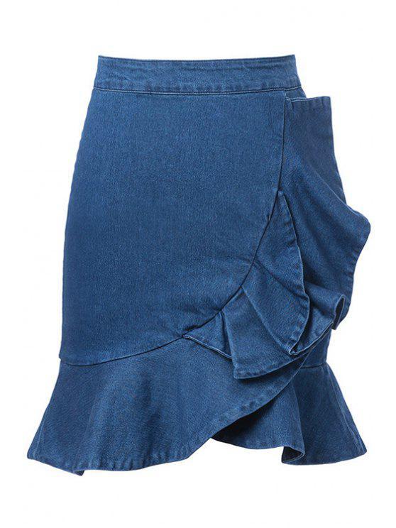 sports shoes moderate price huge inventory Blue Ruffles Denim Skirt BLUE
