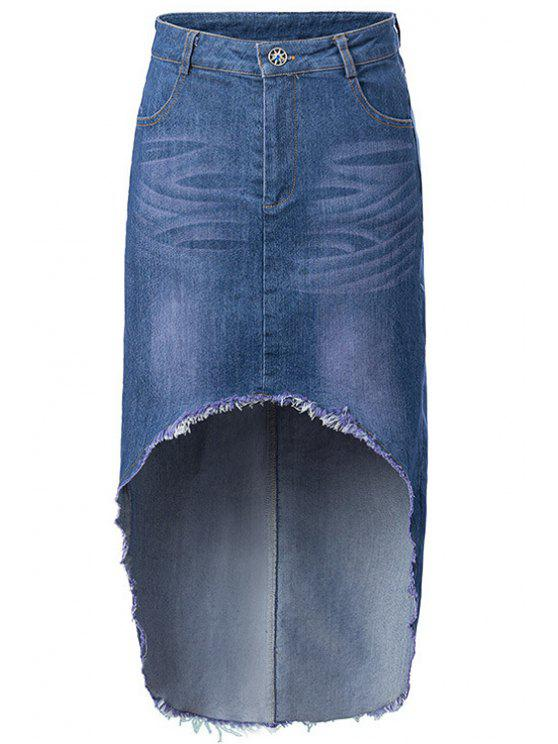 womens High-Low Hem Denim Skirt - ICE BLUE S