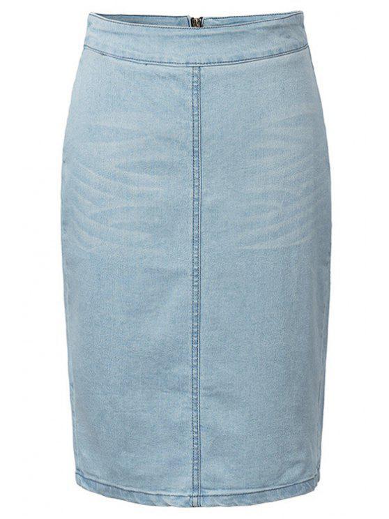 lady Solid Color Denim Pencil Skirt - LIGHT BLUE S