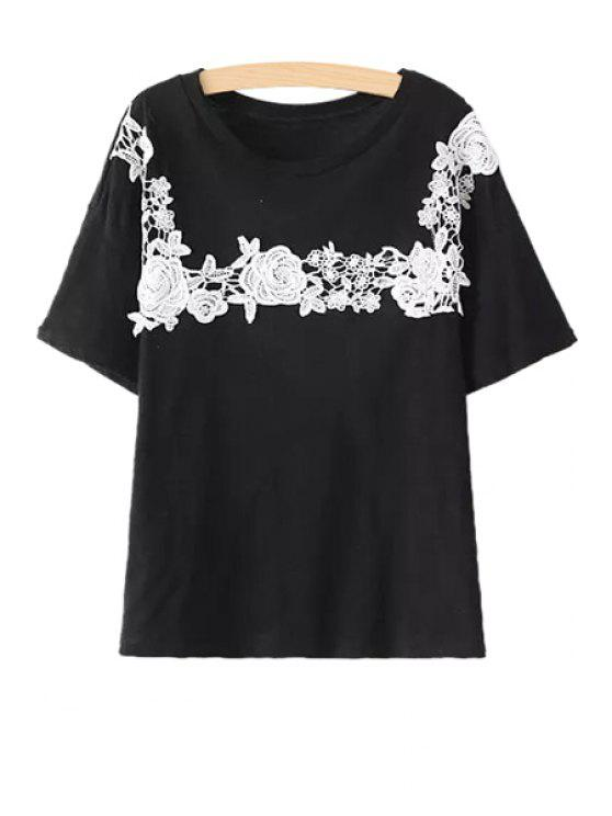 fancy Lace Splicing Short Sleeve T-Shirt - BLACK ONE SIZE(FIT SIZE XS TO M)