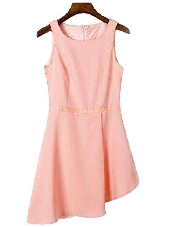 womens Solid Color Irregular Hem Sundress - ORANGEPINK S