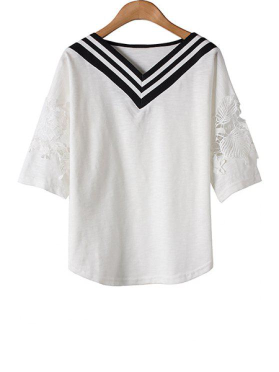 affordable Stripe Lace Splicing Openwork Half Sleeve T-Shirt - AS THE PICTURE ONE SIZE(FIT SIZE XS TO M)