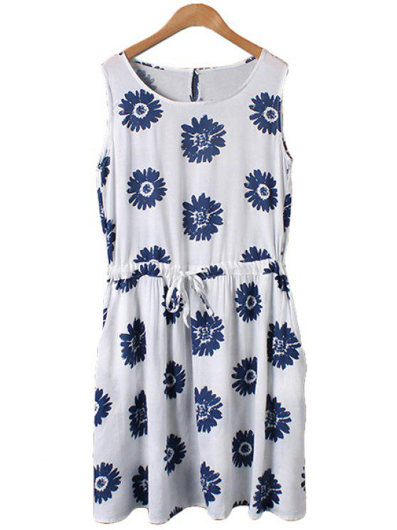hot Blue Floral Print Tie-Up Sleeveless Dress - WHITE M