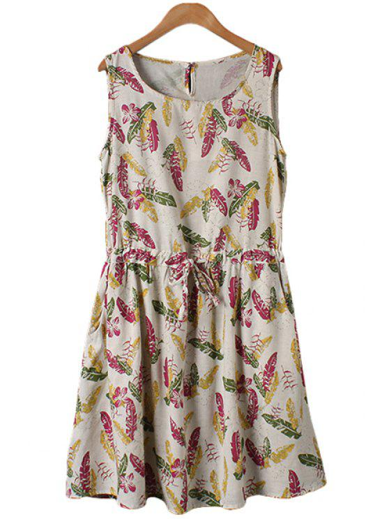 chic Leaves Print Tie-Up Sleeveless Dress - FLAXEN L