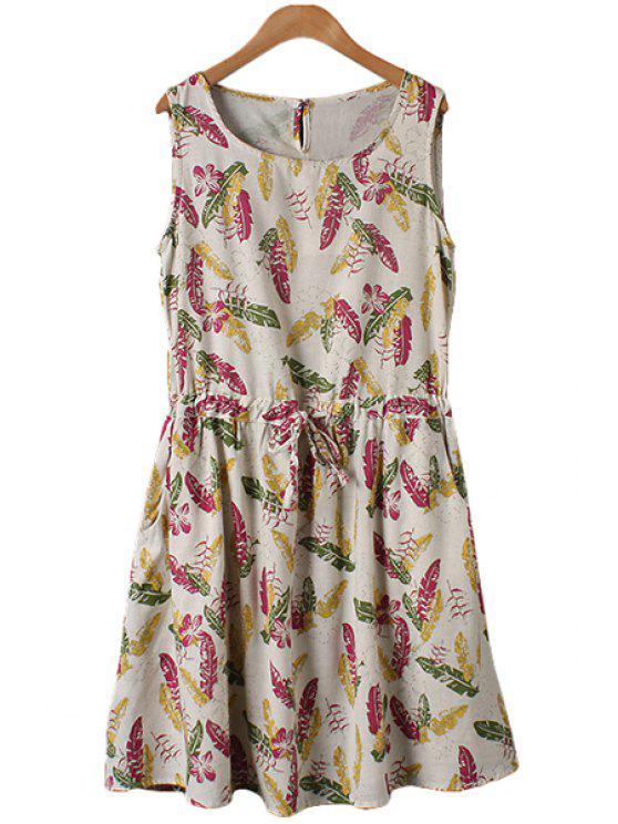 trendy Leaves Print Tie-Up Sleeveless Dress - FLAXEN M
