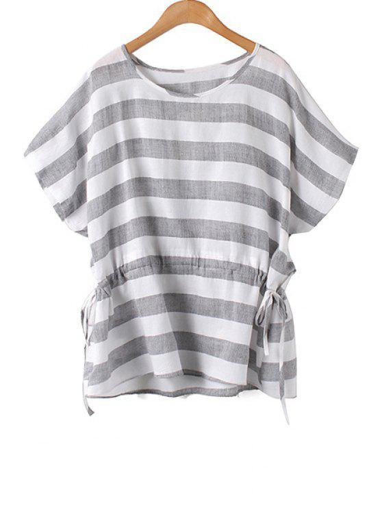 womens Stripe Tie-Up Batwing Sleeve T-Shirt - BLACK M