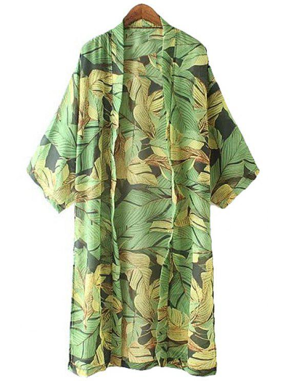 buy Leaf Print 3/4 Sleeve Chiffon Blouse - GREEN S