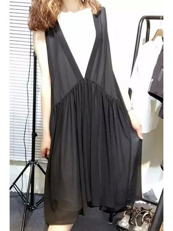 womens Color Block V-Neck Sleeveless Dress - WHITE AND BLACK M